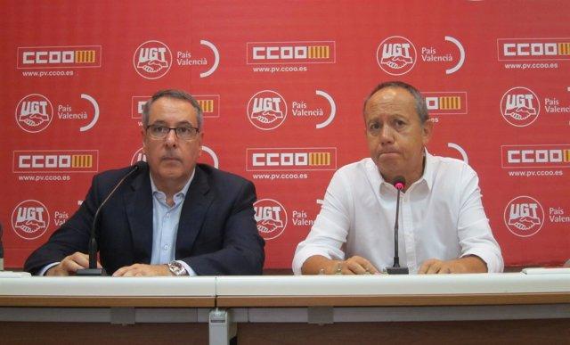 Los secretarios generales de CCOO-PV, Arturo León, y UGT-PV, Ismael Sáez