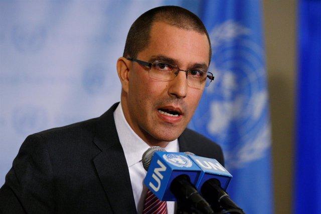 Venezuela's Foreign Minister Jorge Arreaza speaks during a press conference on t
