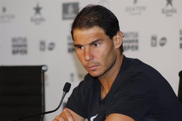 Rafa Nadal en la rueda de prensa del Mutua Madrid Open