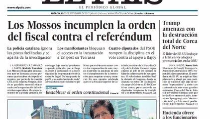 Las portadas de los periódicos de hoy, 20 de septiembre de 2017