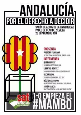 Cartel del acto del SAT en Sevilla.