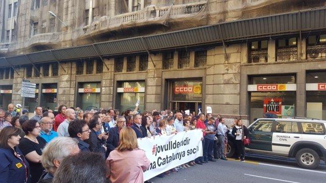 Marcha de CC.OO. De Catalunya contra detenciones de la Guardia Civil
