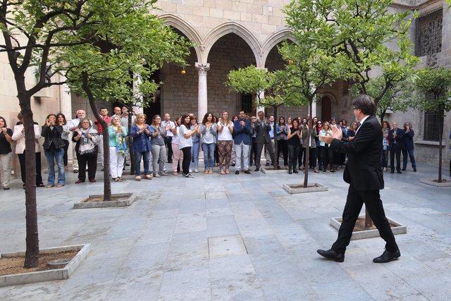 El presidente de la Generalitat, Carles Puigdemont, antes del Consell Executiu.