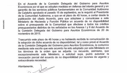 Hacienda detalla por carta a la Generalitat su no disponibilidad de crédito