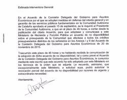 Hisenda detalla per carta a la Generalitat la seva no disponibilitat de crèdit (EUROPA PRESS)