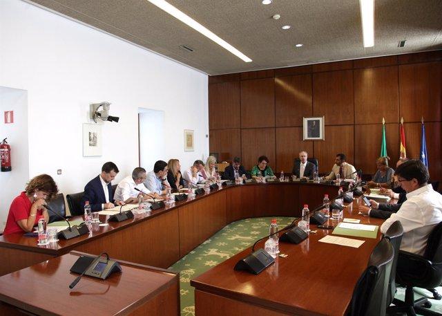 La Junta de Portavoces reunida este miércoles en el Parlamento andaluz