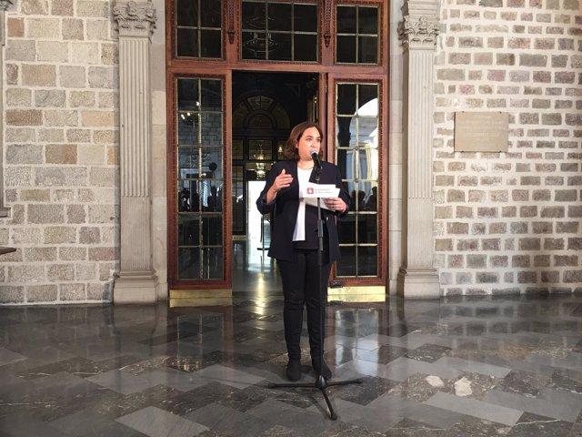La alcaldesa de Barcelona Ada Colau comparece tras detenciones por el referéndum