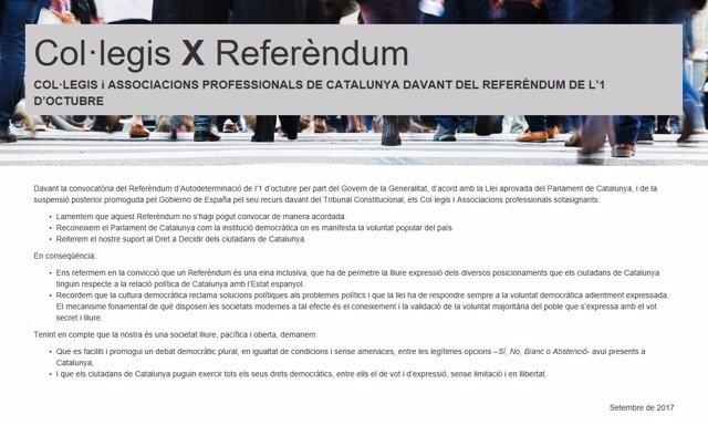 Imagen del manifiesto de colegios profesionales catalanes a favor del 1-O