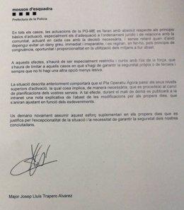 Carta del mayor de los Mossos a los agentes por el referéndum