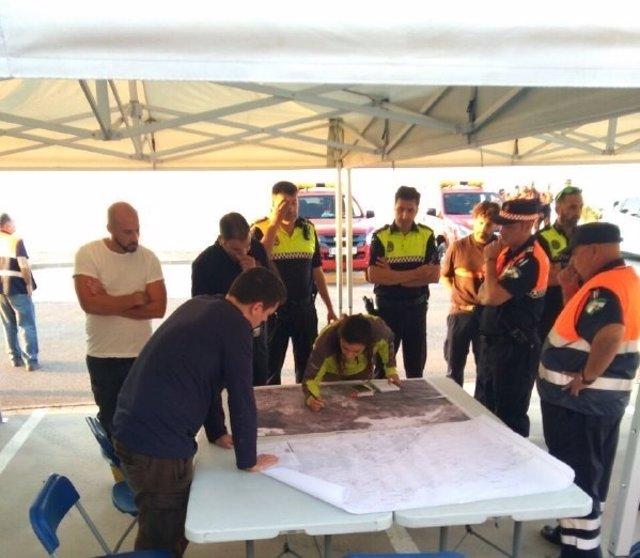 Dispositivo búsqueda desaparecido GREA puesto de mando efectivos Protección Poli