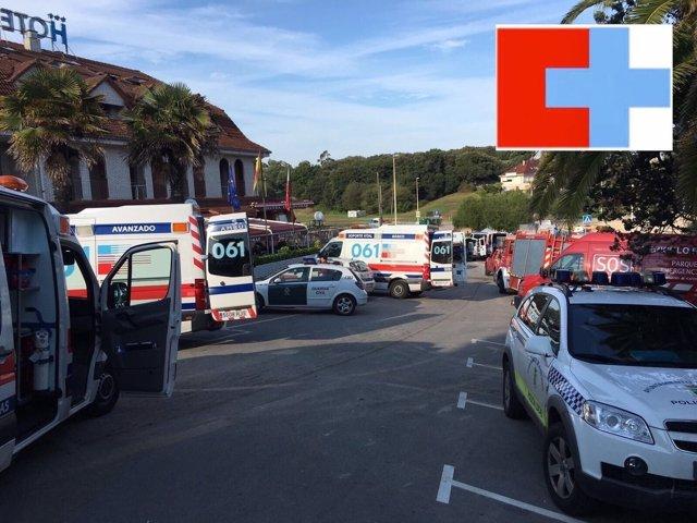 Efectivos de emergencias en el hotel