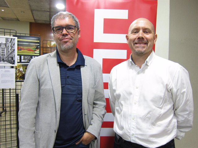 Unai Sordo y Manuel Pina (CCOO), hoy antes de asistir a un acto en Zaragoza