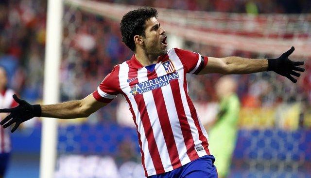 Diego Costa en el partido ante el AC Milan en los octavos de Champions
