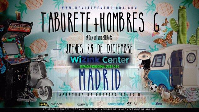 Taburete y hombres g madrid entradas for Entradas concierto taburete