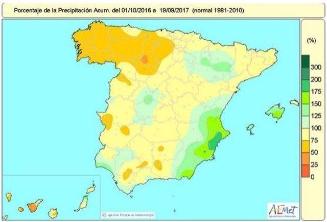 Distribución de lluvias acumulada en España hasta el 19 de septiembre