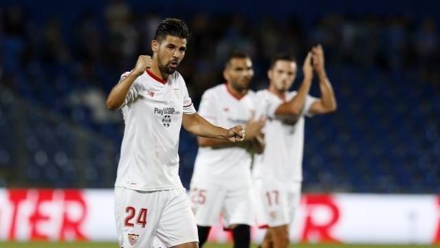 Nolito celebra un gol del Sevilla