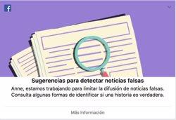 Facebook introdueix una eina per ensenyar a identificar les notícies falses (FACEBOOK)