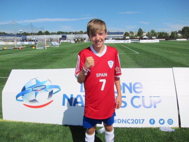 Javier Alonso, jugador del Atlético de Madrid alevín