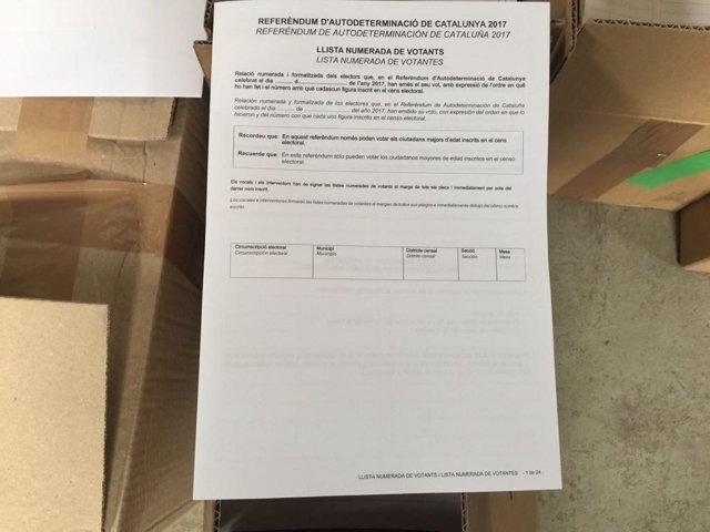 Papeletas para el referéndum del 1-O intervenidas por la Guardia Civil