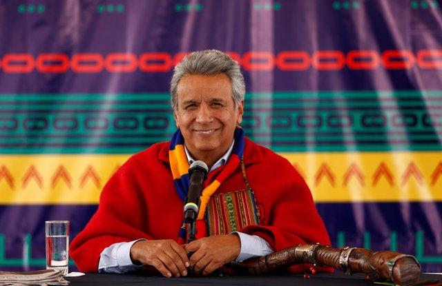 Ecuador's President Lenin Moreno gives a news conference  in Cochasqui, Ecuador,