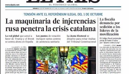 Las portadas de los periódicos de hoy, sábado 23 de septiembre de 2017