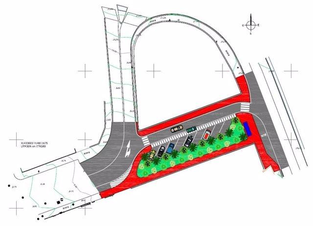 Plano del nuevo vial de salida del Polígono de Candina