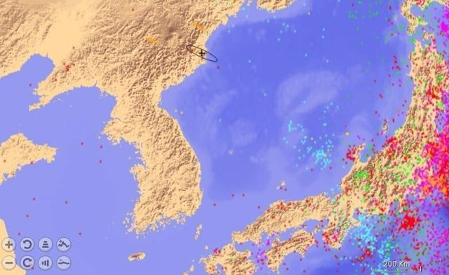 Ubicación del temblor registrado en Corea del Norte