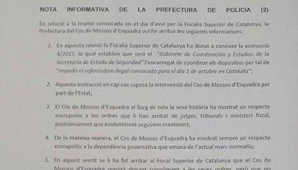 La Jefatura de Mossos cumplirá las órdenes de la Fiscalía pero pide que se respete al Govern
