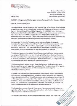 Carta de Generalitat a CE contra el cierre de webs por el 1-O