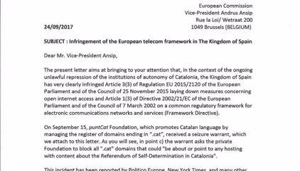 """La Generalitat eleva a Bruselas la """"censura"""" del Estado al cerrar webs vinculadas al 1-O"""