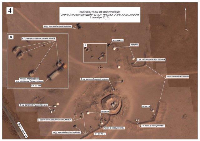Fotografía aérea de fuerzas estadounidenses al norte de Deir Ezzor