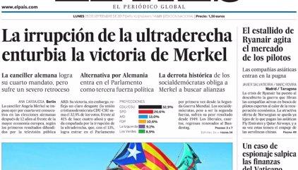 Las portadas de los periódicos de hoy, lunes 25 de septiembre de 2017