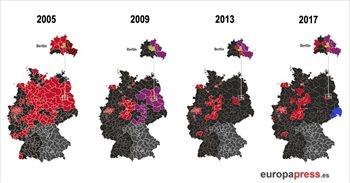 Mapa de resultados elecciones Alemania 2017