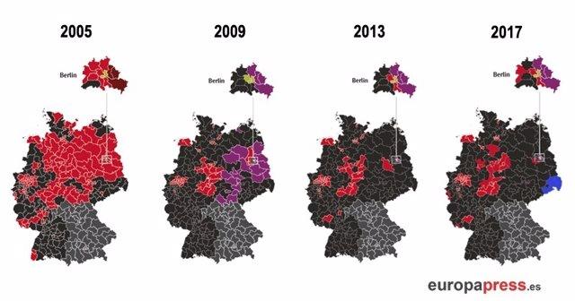 Mapa de resultados electorales en Alemania