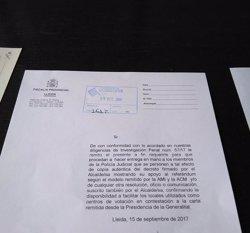 La Fiscalia de Lleida lliura requeriments a 31 ajuntaments de la demarcació demanant informació sobre l'1-O (ACN)