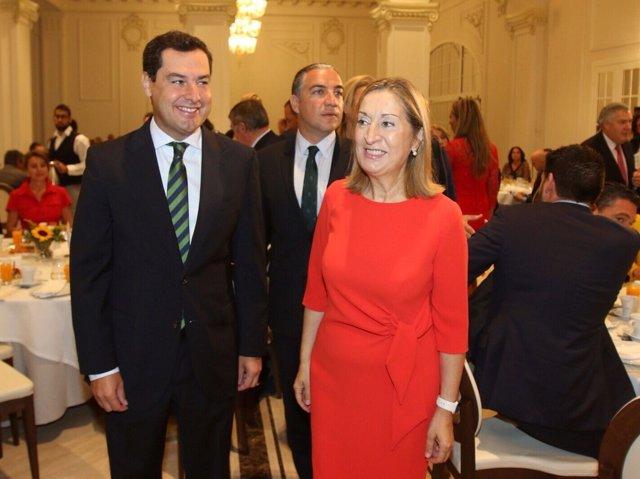 Juanma Moreno, Bendodo y Ana Pastor PP desayuno forum