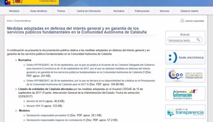 Hacienda lanza una web y un correo electrónico sobre los controles a Cataluña ante el referéndum