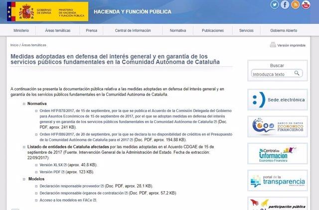 Web de Hacienda sobre Cataluña