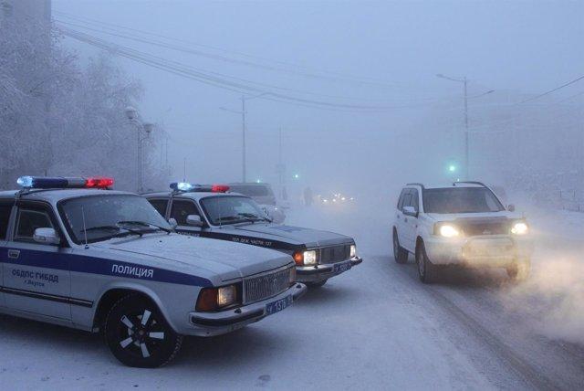 Coches de policía en Rusia