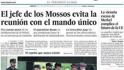 Las portadas de los periódicos de hoy, martes 26 de septiembre de 2017