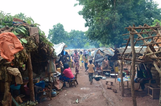 Desplazados por la violencia en Bria
