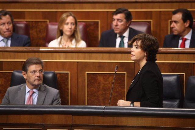 Santamaría en la sesión de control en el Congreso