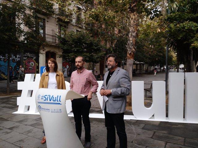 Los dirigentes de Demòcrates Antoni Castellà, Gerard Ardanuy y Assumpció Lailla.