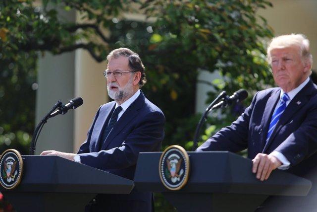 Rajoy y Trump tras la reunión en la Casa Blanca