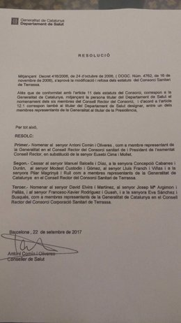 Documento de relevo de la presidencia del Consorci de Salut de Terrassa