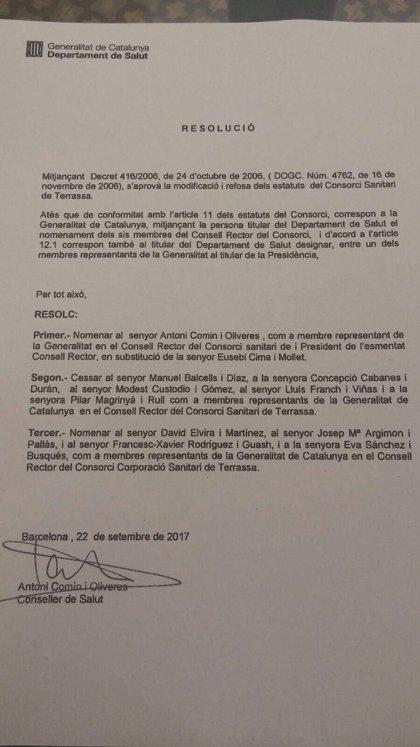 La Generalitat releva presidencias y altos cargos de consorcios sanitarios antes del 1-O
