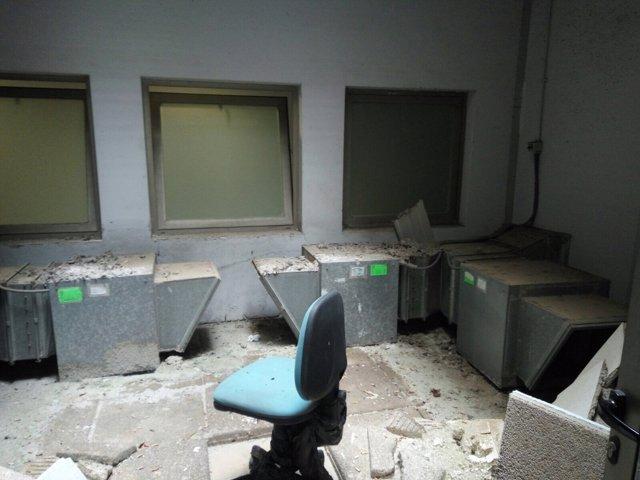 Sala de la Ciudad de la Justicia afectada por el fuego