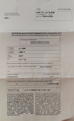 Notificación de la Generalitat para ser miembro de mesa el 1-O