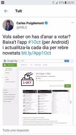 Puigdemont anuncia una 'app' para saber dónde votar el 1-O