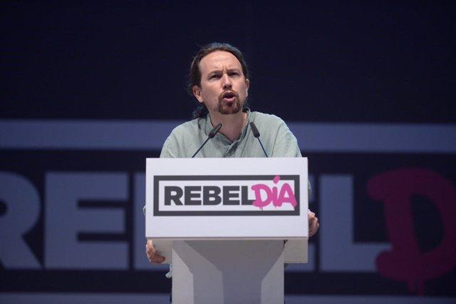 Pablo Iglesias en un acto de Podemos en Alcorcón (Madrid)